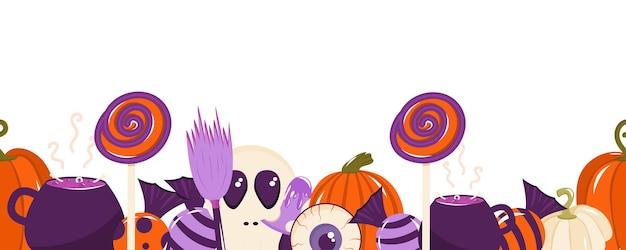 Naadloze rand voor halloween met snoepjes, pompoenen, botten, een oogbol en een heksenketel