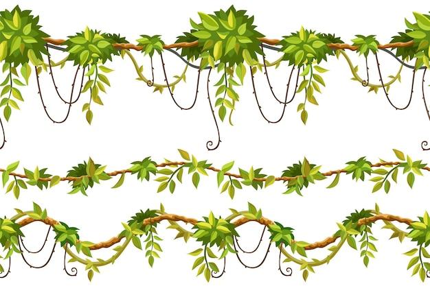 Naadloze randen van liaan takken tropische bladeren