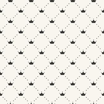 Naadloze retro patroon, met kronen. kan worden gebruikt voor behang, opvulpatronen, webpagina-achtergrond, oppervlaktestructuren