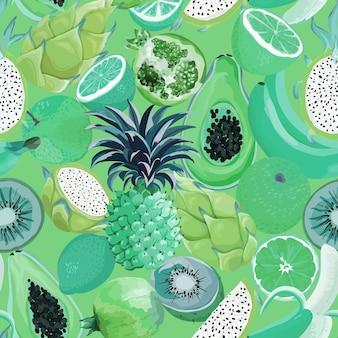 Naadloze retro patroon met tropische vruchten. banaan, sinaasappel, citroen, ananas, dragon fruit achtergrond voor textiel, mode textuur, behang in vector