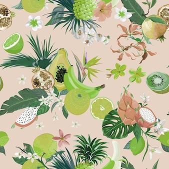 Naadloze retro patroon met tropische vruchten en bloemen. banaan, sinaasappel, citroen, ananas, dragon fruit achtergrond voor textiel, mode textuur, behang in vector
