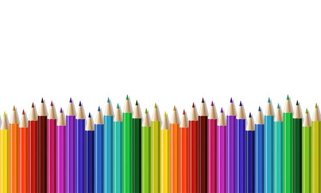 Naadloze rij van kleurpotlood