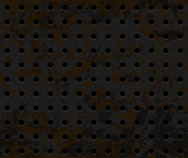 Naadloze roestige geperforeerde ijzertextuur als achtergrond
