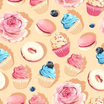 Naadloze roze en blauwe vector hoog detail cupcake patroon
