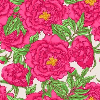Naadloze roze pioenrozen