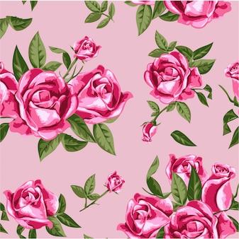 Naadloze roze roos illustratie patroon