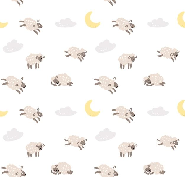 Naadloze schapen cartoon patroon. zoete dromen