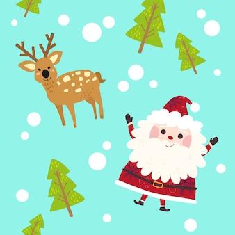 Naadloze schattig santa, herten kerstmis patroon.