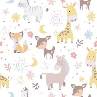 Naadloze schattige dieren patroon