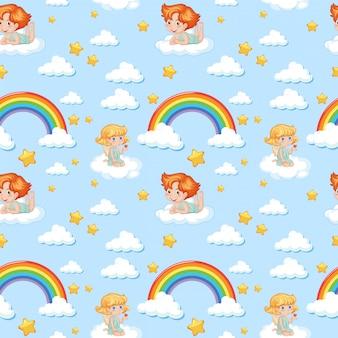 Naadloze schattige engel met regenboog en sterpatroon