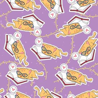 Naadloze schattige kat is het leren van patroon.