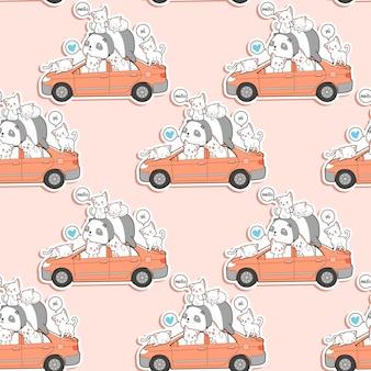 Naadloze schattige katten en panda met auto patroon.