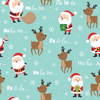 Naadloze schattige kerstman en rendieren