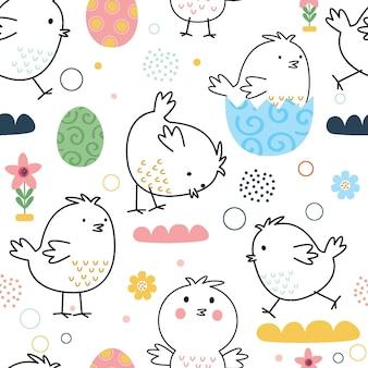 Naadloze schattige kip met doodle stijl ontwerp