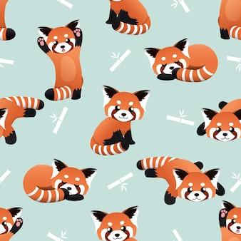 Naadloze schattige rode panda en bamboe vector patroon achtergrond