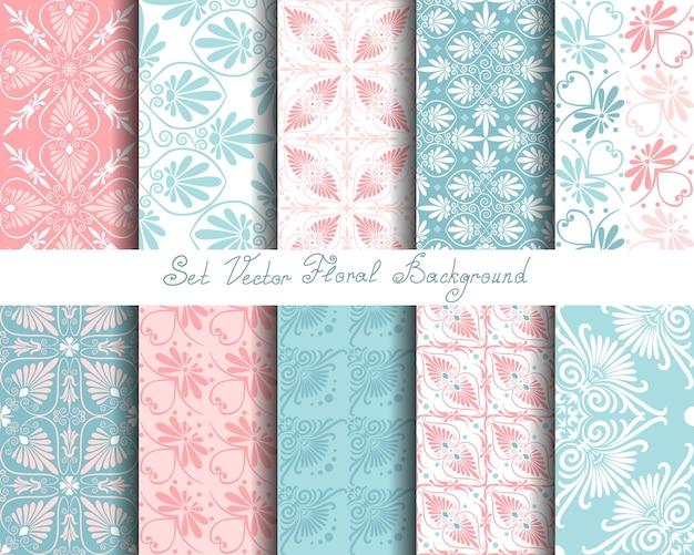 Naadloze schattige roze en blauwe griekse bloemmotief eindeloze textuur instellen voor behang of scrapbookingateliers
