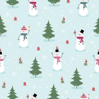 Naadloze schattige sneeuwpop en kleine robin