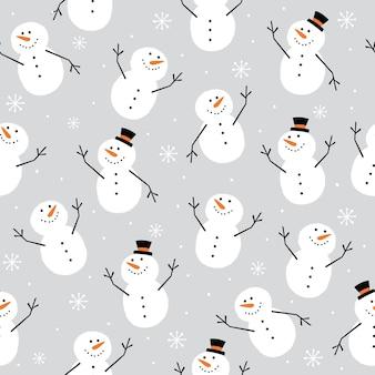 Naadloze schattige sneeuwpop op zilveren achtergrond