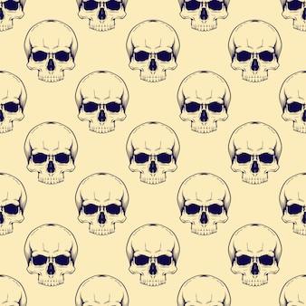Naadloze schedel illustratie patroon