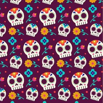 Naadloze schedels dag van de dode patroon sjabloon