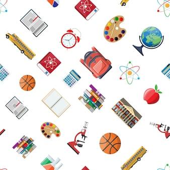 Naadloze school ingesteld patroon. verschillende schoolbenodigdheden, briefpapier. opmerking globe verf rekenmachine rugzak klok bal appel gebouw schoolbus atoom. vectorillustratie in vlakke stijl