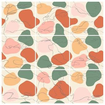 Naadloze set abstracte trendy sjablonen voor posts op sociale media met kleurrijke abstracte elementen