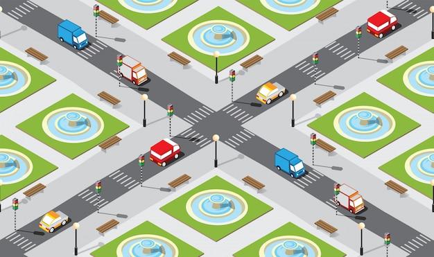 Naadloze stad kaart patroon