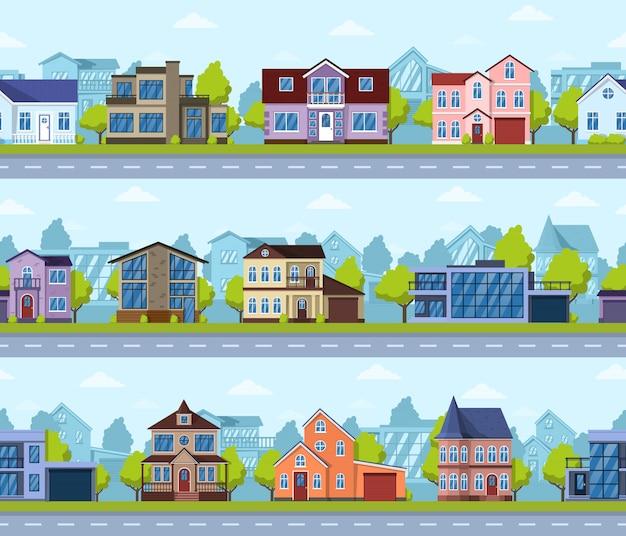 Naadloze stadsgezicht in de voorsteden. panoramisch straathuis exterieur, modern onroerend goed. levende huizen panorama scène naadloze afbeelding instellen. cityscape de panoramische weg in de voorsteden van het straatdistrict