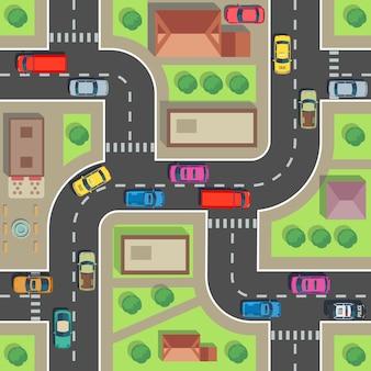 Naadloze stadsplattegrond. bovenaanzicht gebouw en straat met auto's en vrachtwagens.