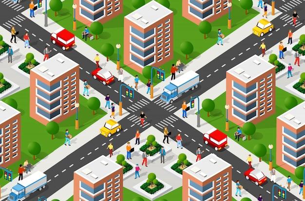 Naadloze stedelijke plan patroon kaart
