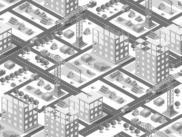 Naadloze stedenbouwkundig planillustratie van isometrisch bouwgebouw met industriële kranen