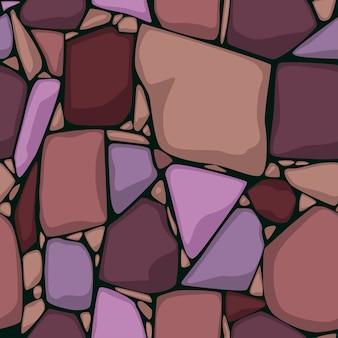 Naadloze steen textuur cartoon naadloze textuur. gekleurde stenen achtergrond.