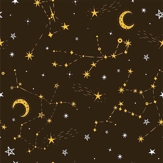 Naadloze sterpatroon met maan en sterrenbeelden.