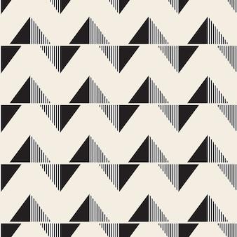 Naadloze streep patroon achtergrond met zwart-wit driehoek
