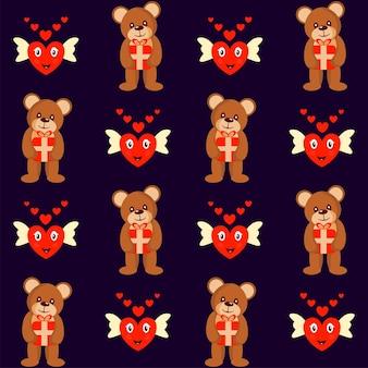 Naadloze teddybeer met geschenkdoos en schattig hart engel patroon op paarse achtergrond.