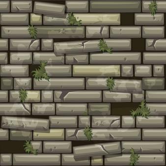Naadloze textuur grijze oude stenen muur en gras