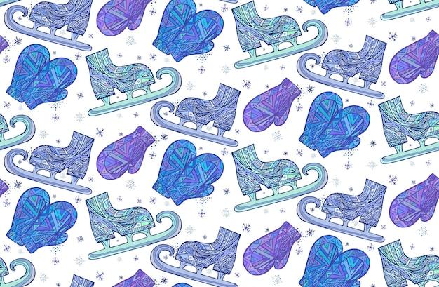 Naadloze textuur met doodle wanten en schaatsen met boho patroon