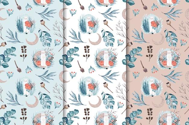 Naadloze textuur met witte dieren en bloemen