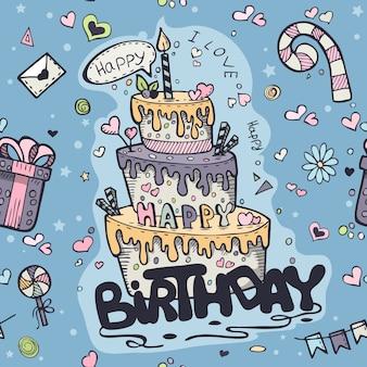 Naadloze textuur van blauw gekleurde doodles tot verjaardag