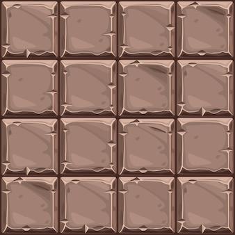 Naadloze textuur van bruine vierkante steen, achtergrond stenen wandtegels.