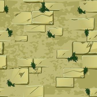 Naadloze textuur van een oude muur met gras