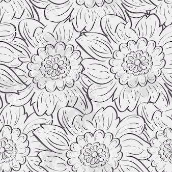 Naadloze textuur van hortensia bloemen. zwarte contour