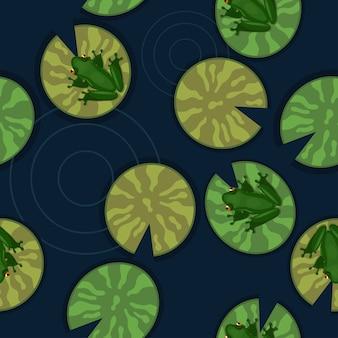 Naadloze textuur van kikkers op waterlelies op een vijver.