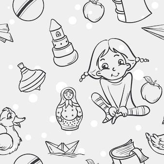 Naadloze textuur van kinderspeelgoed voor de meisjes in zwarte contour