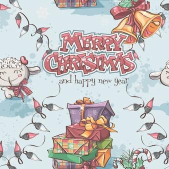 Naadloze textuur van nieuwjaar en kerstmis met het lam, geschenken,