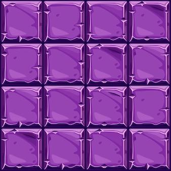 Naadloze textuur van paarse vierkante steen, achtergrond stenen wandtegels.