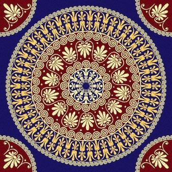 Naadloze traditionele vintage gouden ronde griekse sieraad (meander) en bloemmotief op een rode en blauwe achtergrond