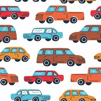Naadloze trendy patroon een klassieke auto's in retro kleur op witte achtergrond