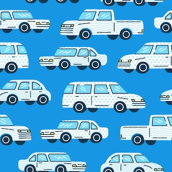 Naadloze trendy patroon een klassieke auto's in witte kleur met memphis patroonstijl op blauwe achtergrond