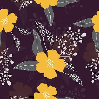 Naadloze tropische bloemenpatroonachtergrond